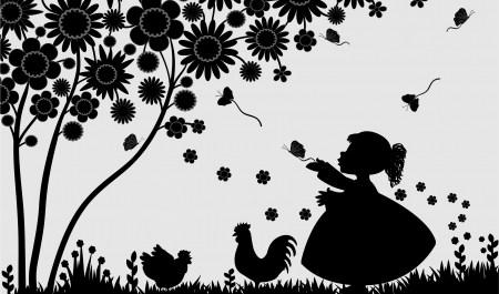 15858259 - girl with butterflies in the garden