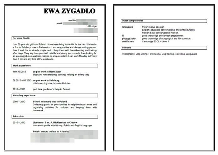przykladowe CV