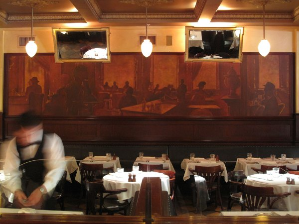 Murals in a downtown San Francisco bistro set the tone