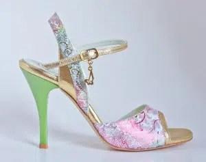 Chaussures de tango femmes marque Turquoise shoes - Modèle M07 Green Gold
