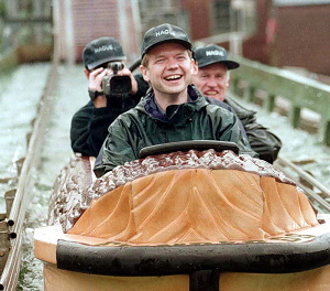 All fixed now...Hague rides the popular petrol flume