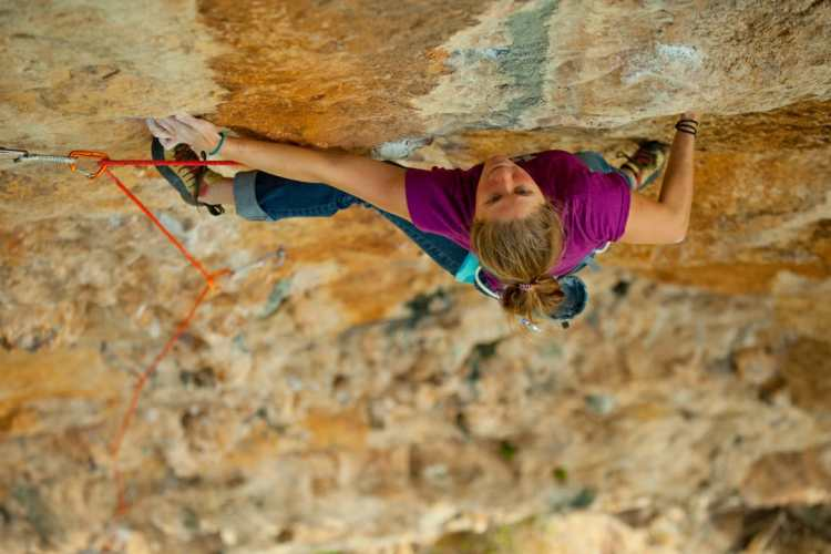 Whitney climbing in Sicily. Photo: Andrew Burr