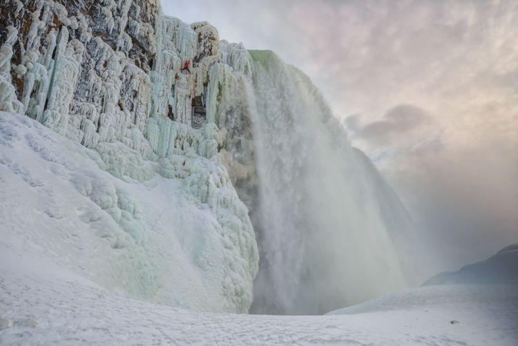 Will Gadd climbing the frozen Niagra Falls first ascent