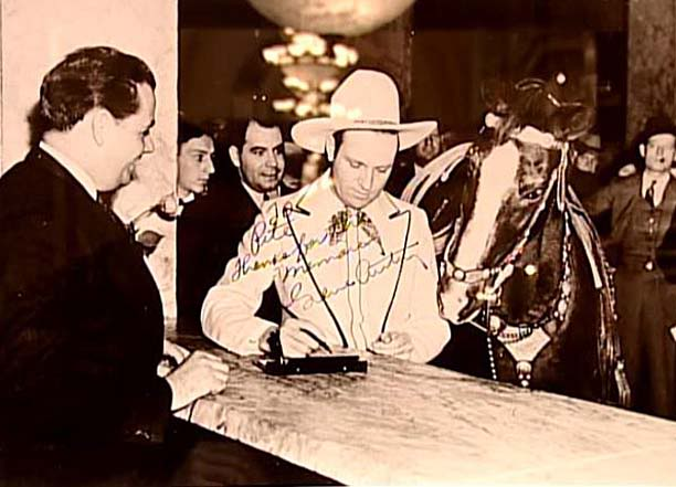 Gene Autry and His Horse Checking in the Hermitage Hotel Nashville