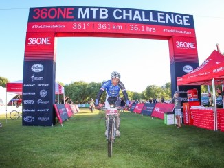 Ramses Bekkenk crossed the finish line in a new record time of 13 hours, 59 minutes and 55 seconds to win the 2017 36ONE MTB Challenge. Photo by Oakpics.com.