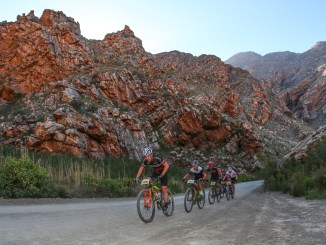The 85km main event distance ascends and descends through the magnificent Seweweekspoort, making the race one of the most scenic on the Western Cape mountain biking calendar. Photo by Oakpics.com.