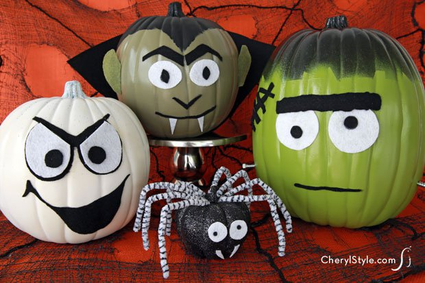 40 No Carve Pumpkin Decorating Ideas for Kids No carve DIY monster pumpkins for Halloween