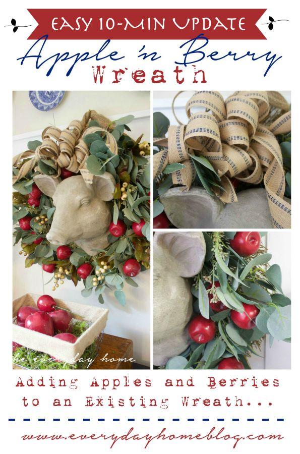 Apple 'n Berry Wreath The Everyday Home www.everydayhomeblog.com