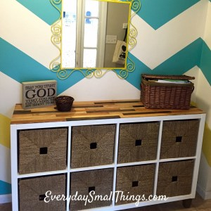 Storage Cabinet with Custom Wood Top | EverydaySmallThings.com