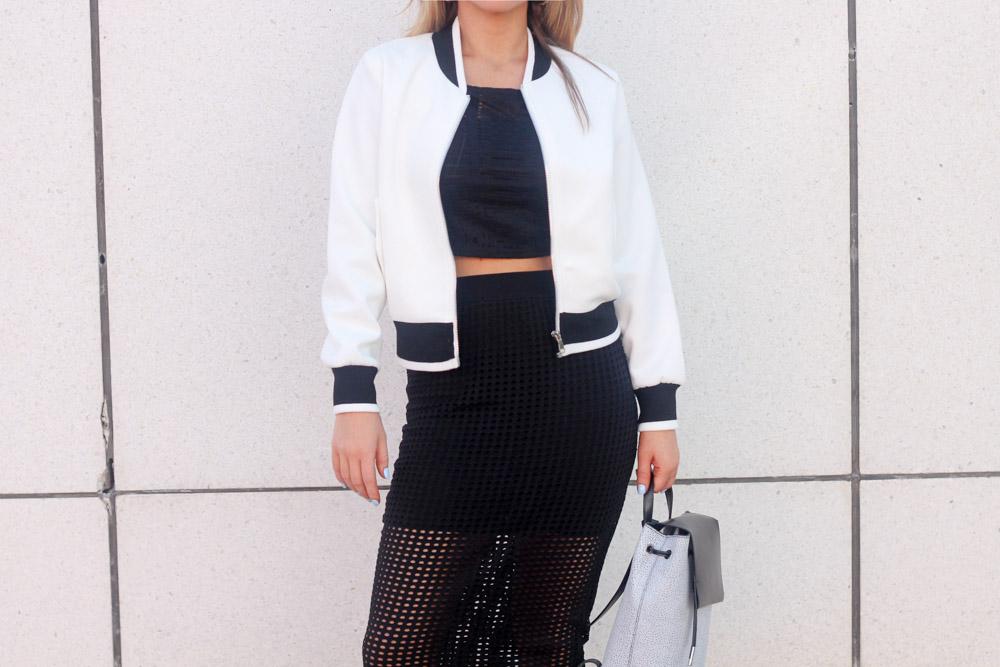 white and black bomber jacket