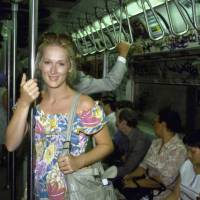 Young Meryl Streep on the graffiti covered NYC subway