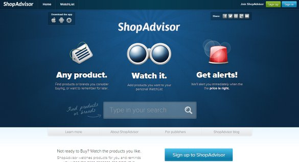 ShopAdvisor screen
