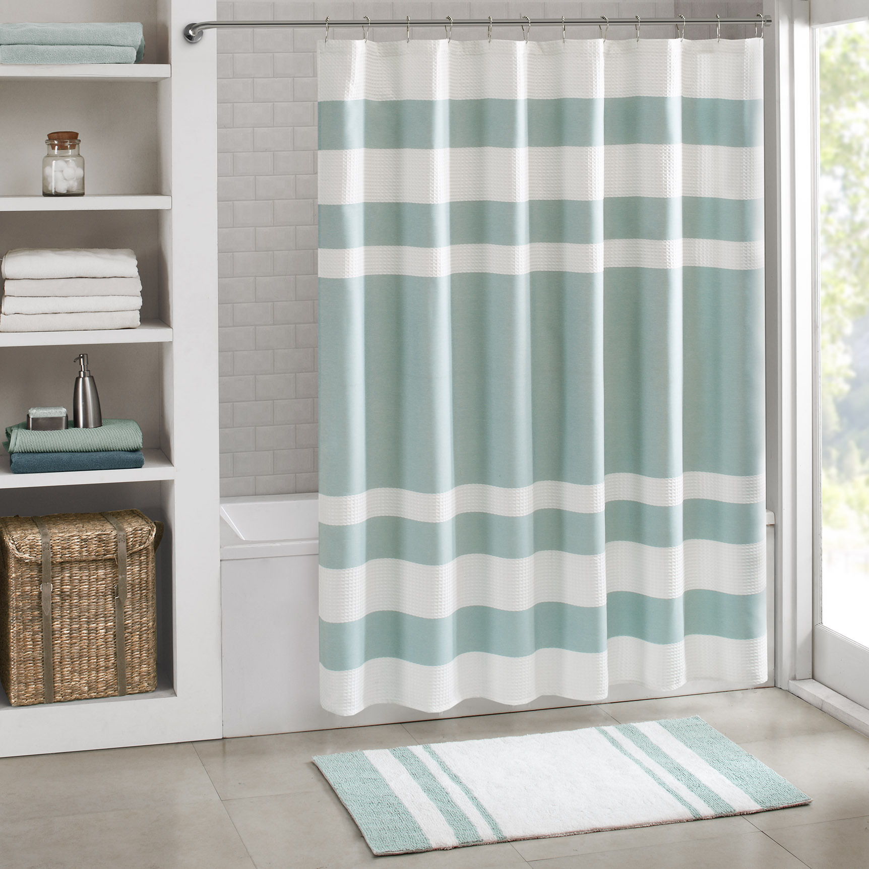Neat Madison Park Spa Waffle Shower Curtain Aqua Madison Park Spa Waffle Shower Curtain Everything Turquoise Green Shower Curtains Fabric Green Shower Curtain Ebay houzz 01 Green Shower Curtain