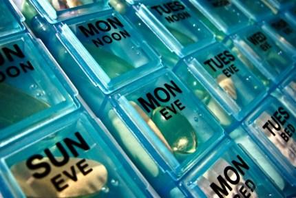 Close-up of a pill dispenser