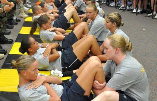 Girls doing sit-ups