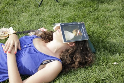 Woman asleep under Jane Austen novel
