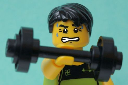 Lego toy with a dumbbell