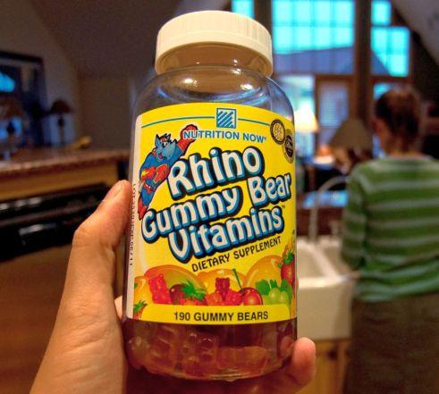 A jar of a multivitamin supplement for children