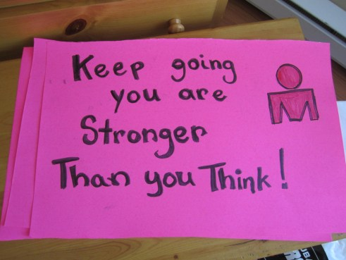 Sign with motivational workout quote