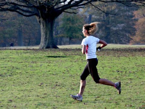 Woman jogging in autumn park