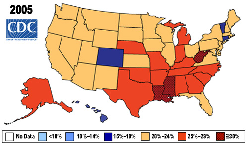 US obesity rates in 2005.