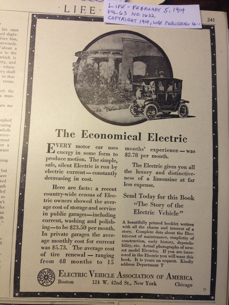 1914 Electric Vehicle Ad in LIFE Magazine