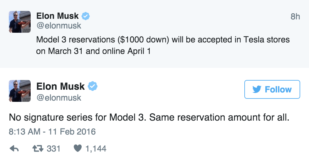 Elon Musk Drops Model 3 Launch Details on Twitter