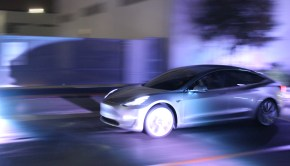 Tesla Model 3 silver test track photo