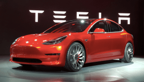 Tesla Model 3 unveiling red