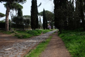 Appian Way. This is the first main road the Romans built. How many people have walked this way?