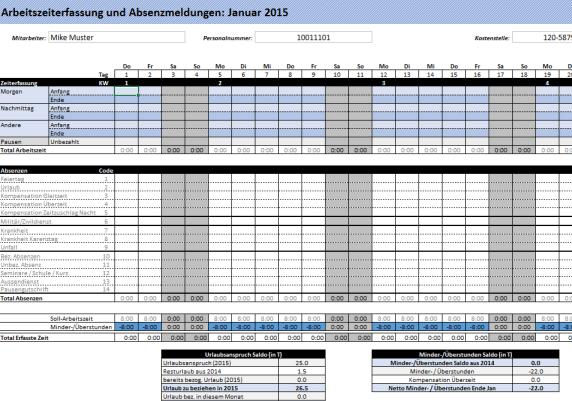 Excel Arbeitszeiterfassung Vorlage 2015
