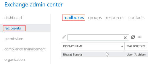 Screenshot: Mailboxes in EAC