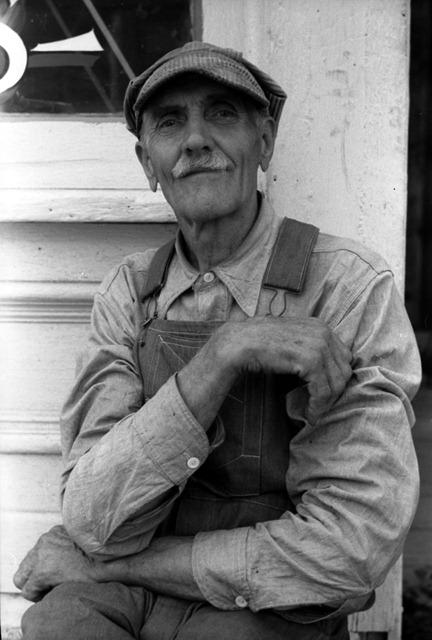 Farmer in town, Collins, Iowa; photo by Arthur Rothstein