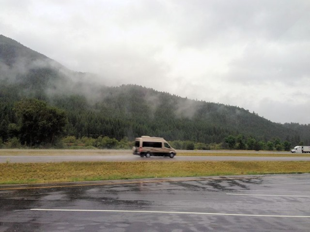 Camper van on the interstate east of Missoula, Montana, August 23, 2014