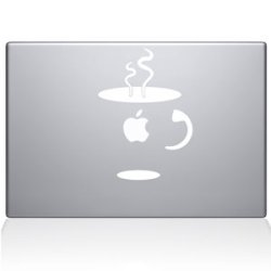 Cup Of Coffee Macbook White Decal Sticker