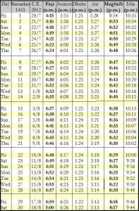 prayer timetable