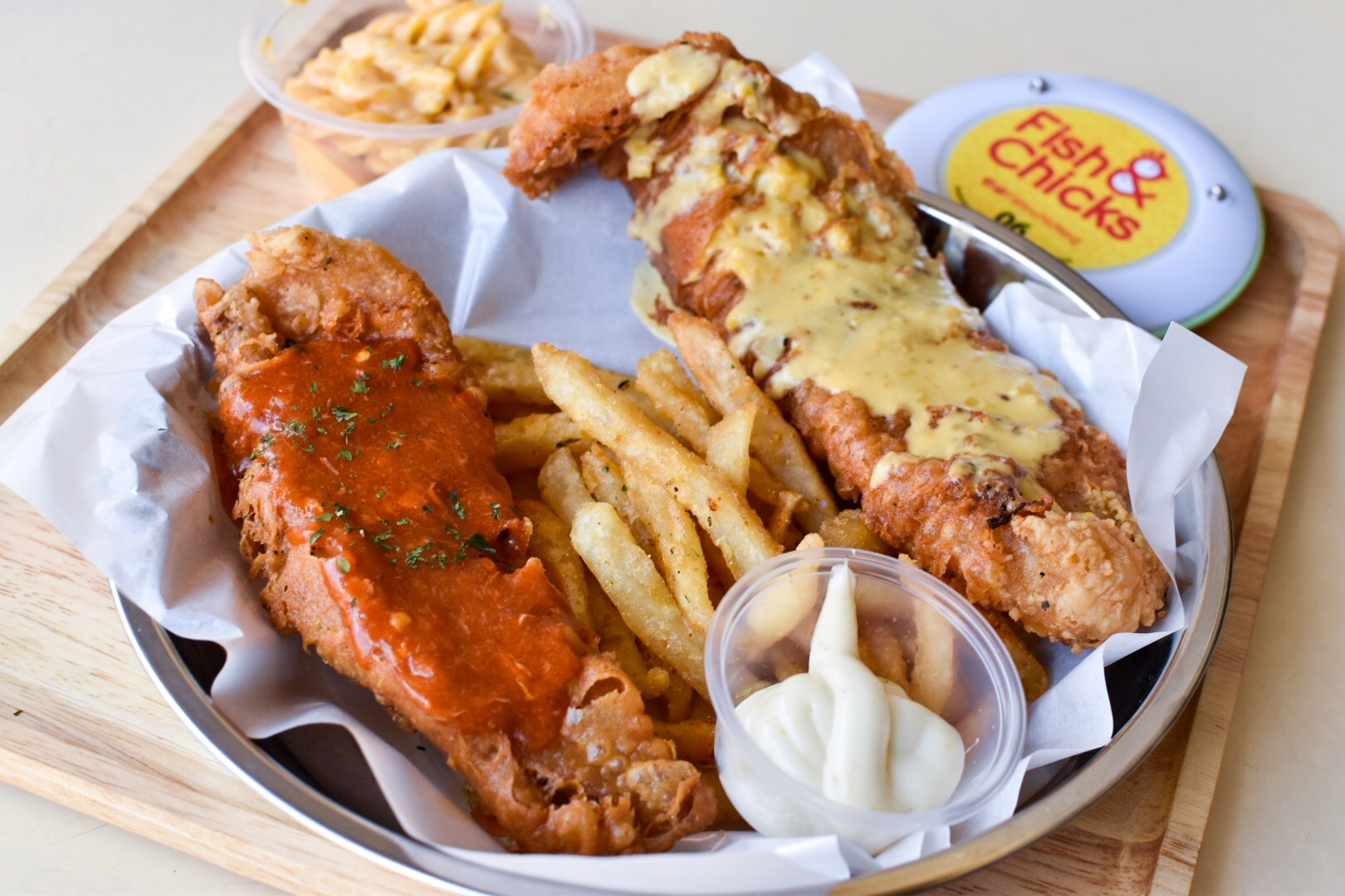 Fish and chips with a twist salted egg or chili crab for Crab topping for fish