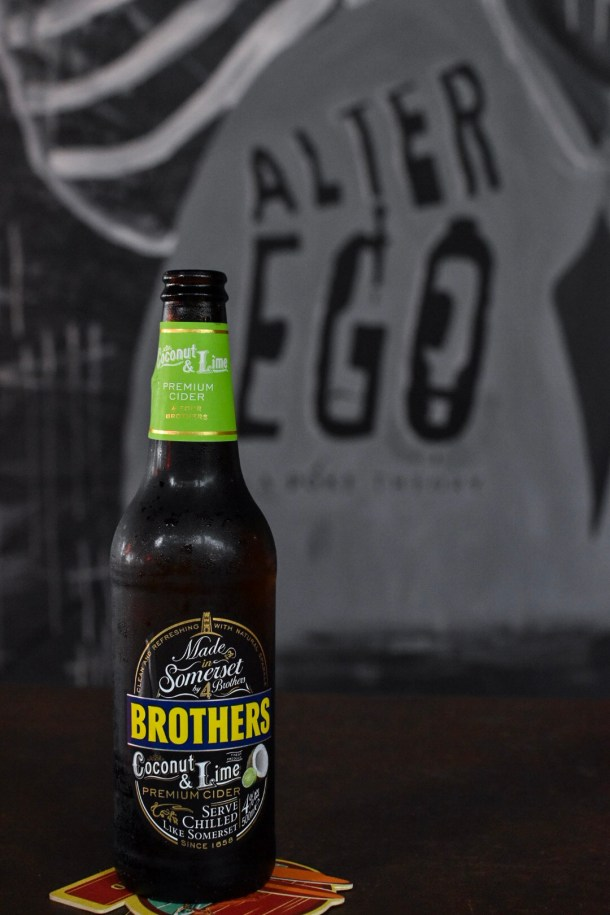 Brothers' COCONUT LIME cider ($14), so RIDICULOUSLY GOOD AND REFRESHING.