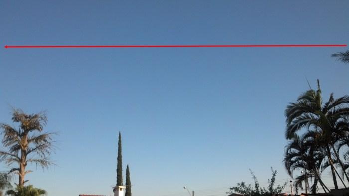 Imagen 7 La línea roja indica el movimiento realizado por el objeto desconocido. Crédito: Aquilino Cesar.