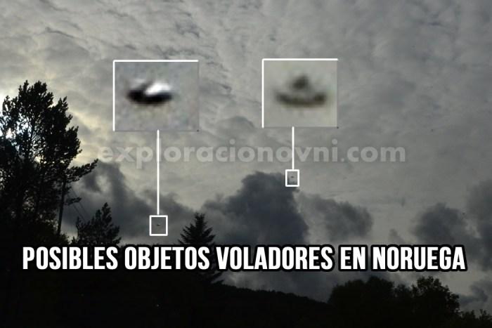 Posibles objetos voladores fotografiados en Noruega. Crédito: MUFON