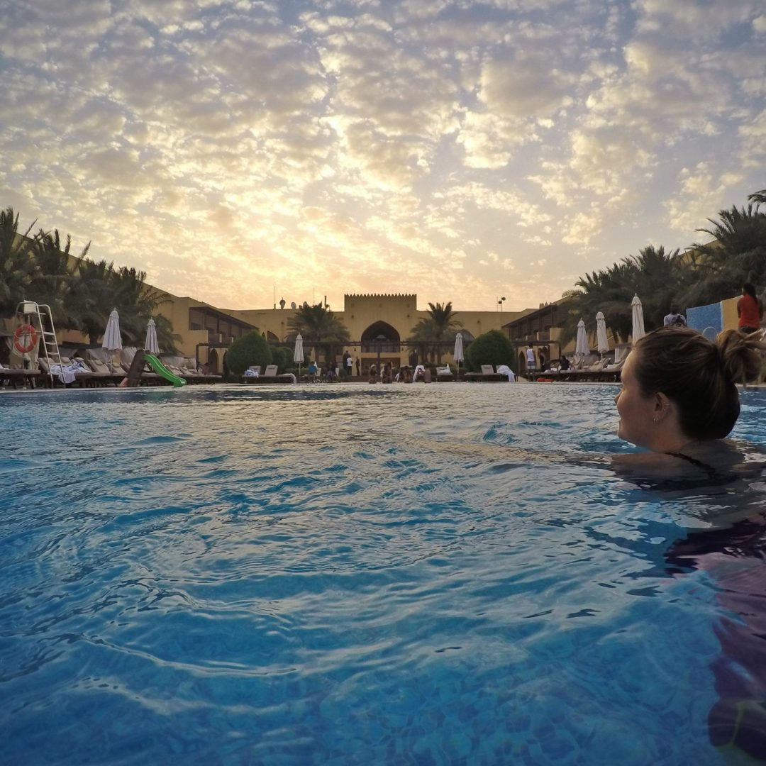 Tilal Liwa Hotel pool sunset