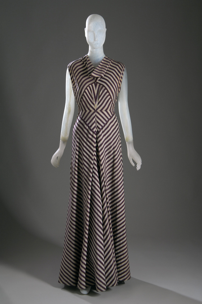 Hawes Evening dress Striped silk and rayon Circa 1936, USA