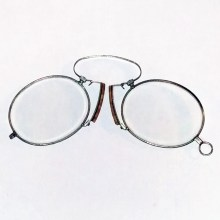 new cork & steel pince-nez of +2.50 power
