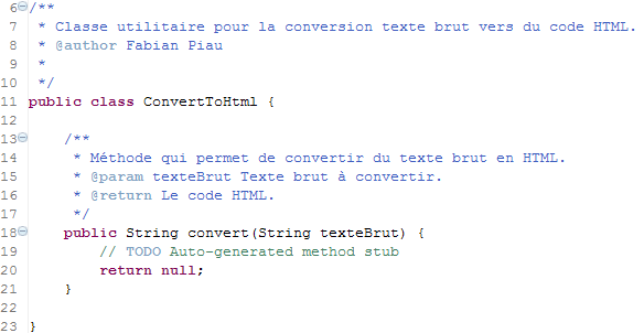 Le code pour que le test compile