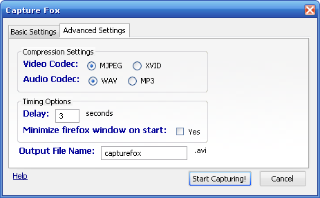 Tab 2 - CaptureFox Advanced Settings