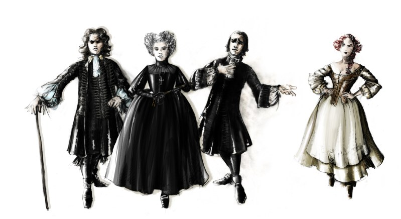Orgon, Mme Pernelle, Tartuffe and Dorine. Rendering by Fabio Toblini