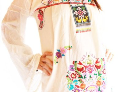 aida coroo embroidered mexican mini dress bell sleeves