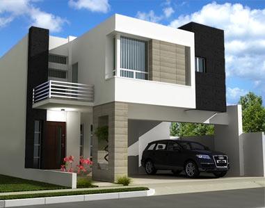 11 interesantes fachadas de casas modernas con cantera for Modelos de casas minimalistas de dos plantas
