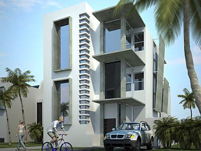 10 fachadas de casas modernas de 3 niveles fachadas de for Departamentos minimalistas fachadas