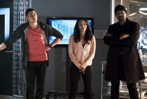 "The Flash -- ""The Race of His Life"" -- Image: FLA223a_0128b.jpg – Pictured (L-R): Keiynan Lonsdale as Wally West, Candice Patton as Iris West and Jesse L. Martin as Detective Joe West -- Photo: Katie Yu/The CW -- © 2016 The CW Network, LLC. All rights reserved."